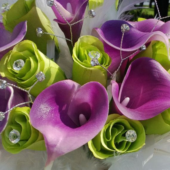 Calla Lily Bouquet Purple calla Bouquet by SilkFlowersByJean, $135.00