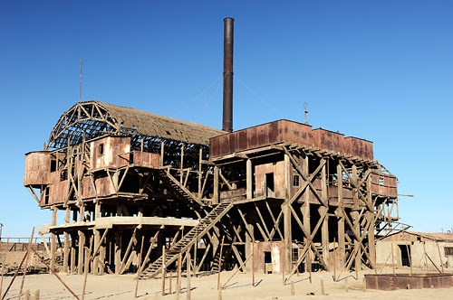 Ruins of historic nitrate processing plant Santa Laura near Iquique