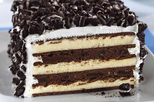 This extraordinary cake starts with vanilla ice cream sandwiches and chopped OREO Cookies—and just continues to get better! Two words: Oh. My.