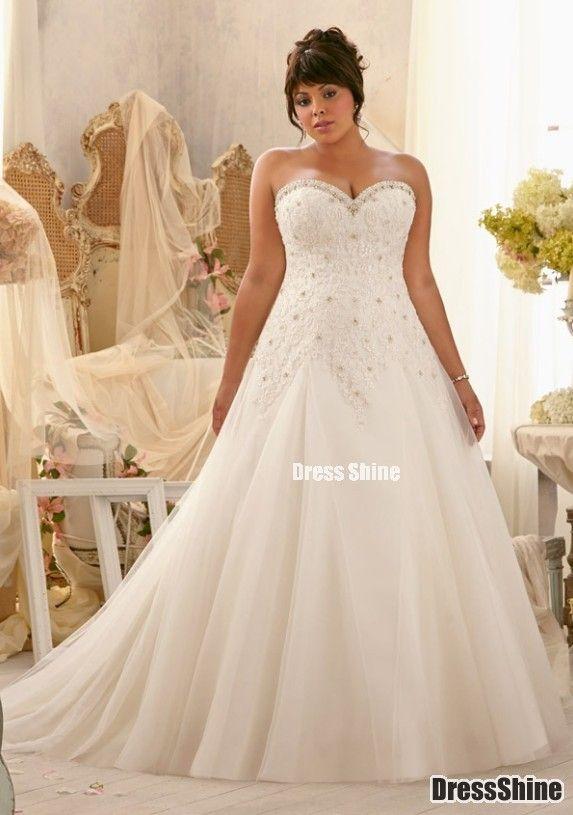 Elegant Sweetheart Organza And Lace Plus Size Wedding Dress Dresses