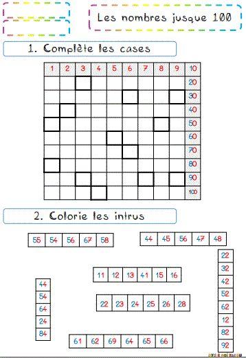 Nombres de 0 à 100 : exercices. | Tableau des nombres, Des centaines graphique et Compréhension ...