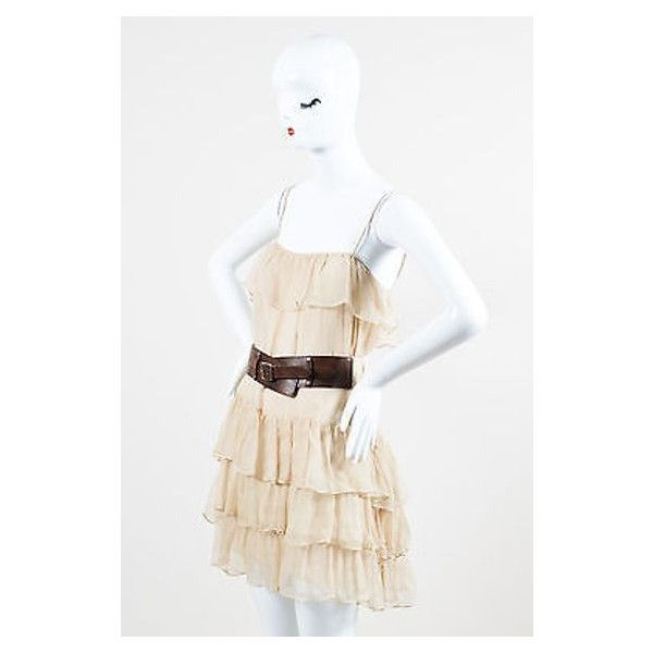 Pre-Owned Haute Hippie Beige Chiffon Ruffle Spaghetti Strap Belted... ($65) ❤ liked on Polyvore featuring dresses, neutral, short dresses, white chiffon dress, cream cocktail dress, short white dresses and white spaghetti strap dress