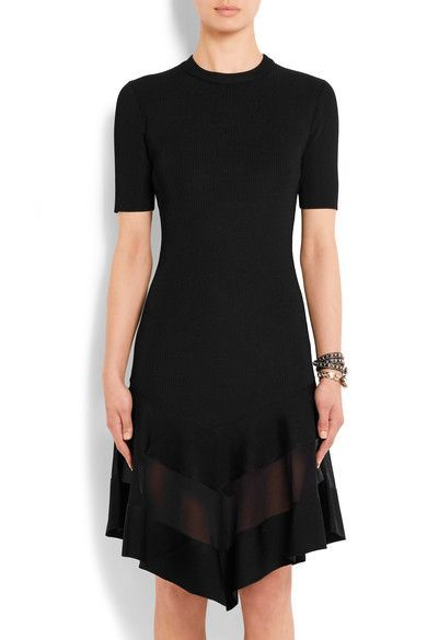 Black ribbed-knit Short sleeves, crew neck, organza panel, asymmetric skirt 98% polyester, 2% elastane; panel: 75% viscose, 25% polyester Concealed hook and zip fastening at back Dry clean Made in Italy