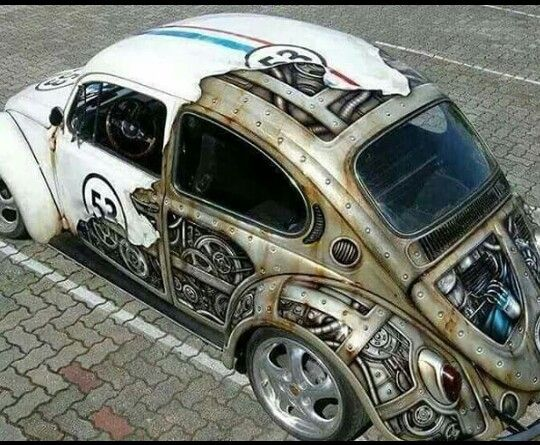 I wish I could give credit to the talented artist who came up with this version of the love bug...
