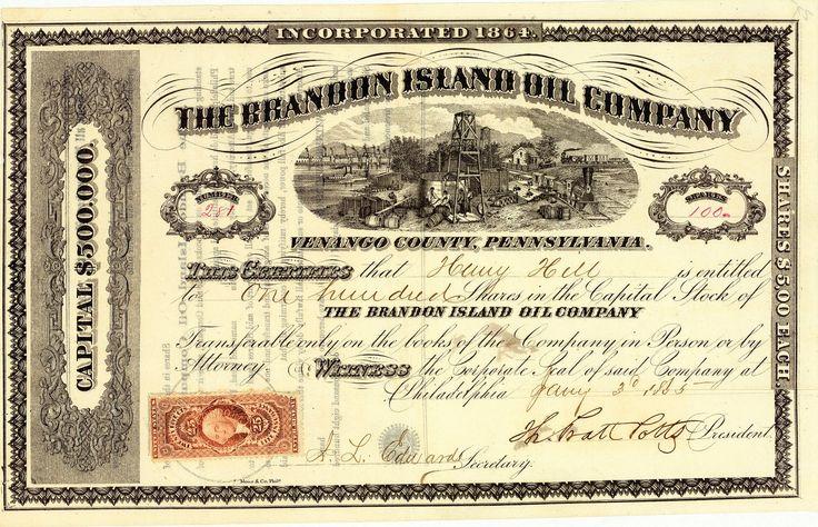 Brandon Island Oil Co., Philadelphia, Pa., Aktie von 1865 + ÄUSSERST SELTEN!