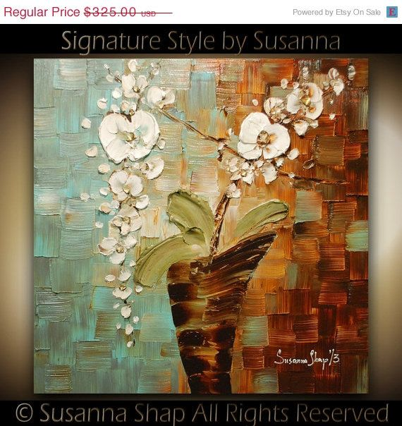 CHERYL SAYS: Interesting technique here. ORIGINAL Abstract White Orchid Impasto Oil by ModernHouseArt, $292.50