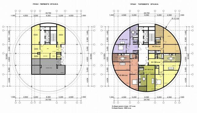 Планы 1 и типового этажей Дома-башни