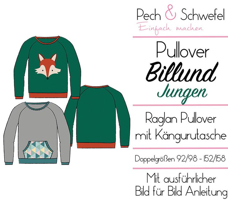 E-Book Schnittmuster Billund ein Basic Raglan Pullover für Jungen in Doppelgrößen 92/98 bis 152/158