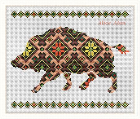 Cross Stitch Pattern Silhouette wild boar with folklore texture pig swine Counted Cross Stitch Pattern/Instant Download Epattern PDF File