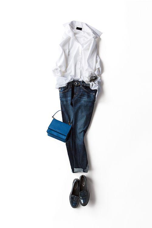 kk-closet | 2015-08-27 白シャツ×デニム、永遠に好きな組み合わせ ビッグシルエットの白いシャツをふわっと着る。前の裾をすこし、デニムにインして裾をきちっとロールアップ。ネイビーのローファーとベルトでメンズっぽさを、小ぶりのバックで女らしさを。今ならこんな感じの白シャツ×デニムを着たい。