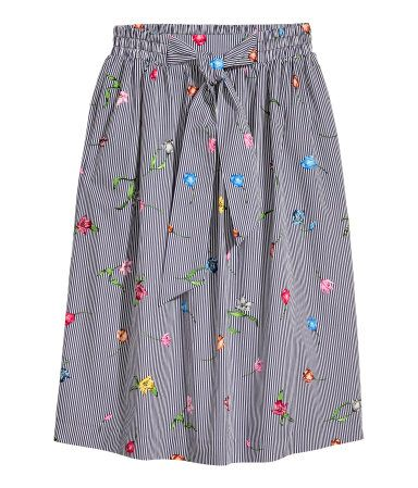 Flared skirt | Dark blue/Striped | LADIES | H&M ZA