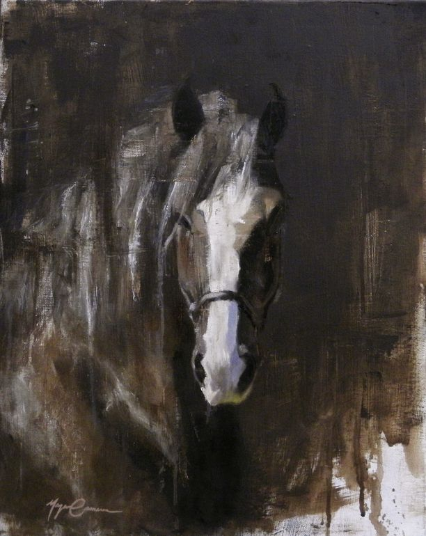 "Saatchi Art Artist: Morgan Cameron; Oil 2013 Painting ""Draft Horse Portrait"""