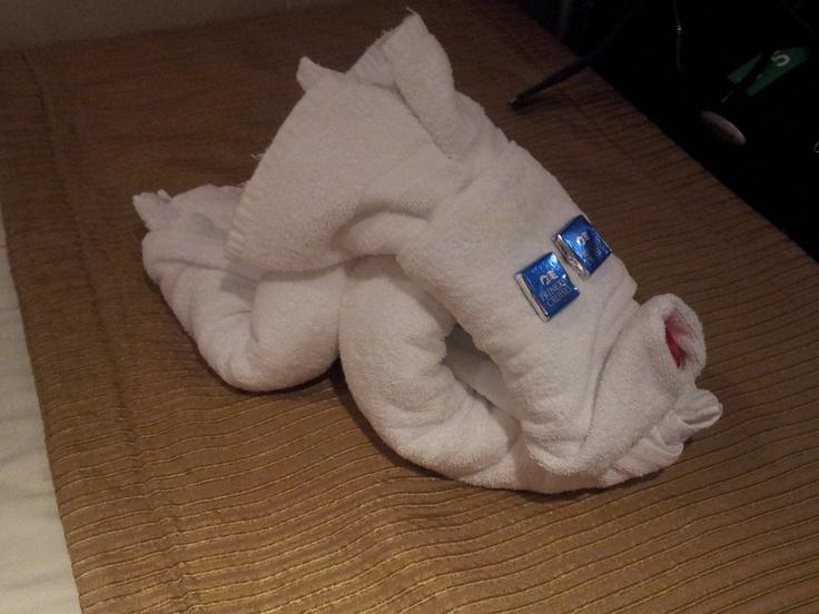 Towel dog on Sea Princess Xmas 2011 cruise around New Zealand
