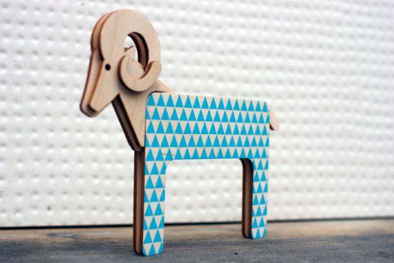 Unique Nursery Decor Ram Figurine - Laser Cut Figurine - Baby Blue Ram - Wooden Figurine - Sculpture