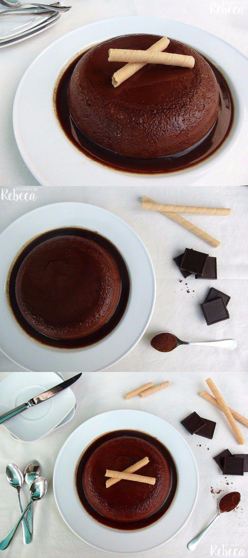 Flan de chocolate fácil de hacer (sin hornear) / http://www.lacocinaderebeca.es