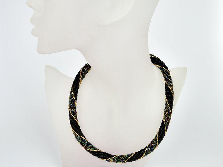 arabische Nacht Häkelkette Farben schwarz gold metallic