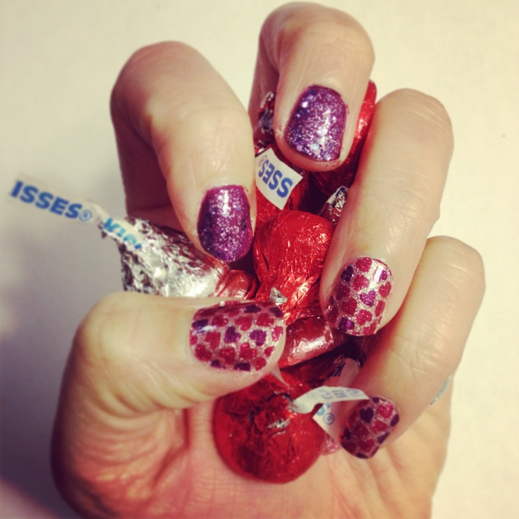 valentines day nails lips