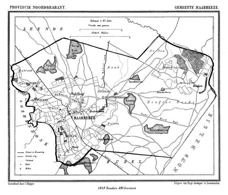 Gemeente Maarheeze in ca. 1870 kaart J. Kuijper