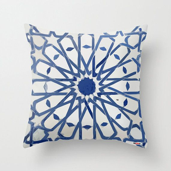 Decorative pillow cover - Morocco Cushion cover - Mosaic pillow cover - African pillow - Blue and white Pillow - tribal bedding on Etsy, $55.00