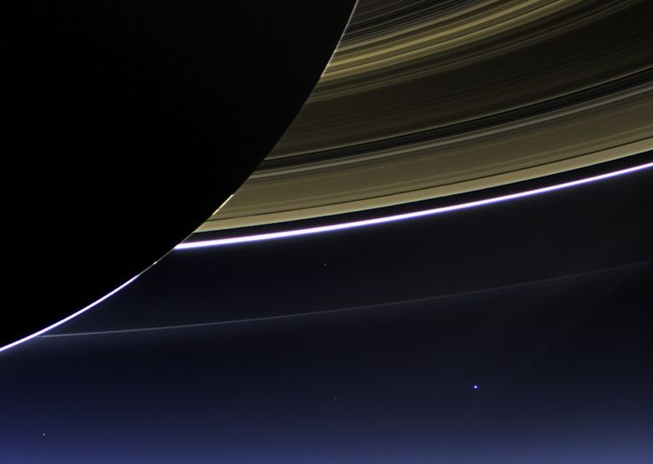 Taken by NASA's Cassini spacecraft.  Saturn's rings and our planet Earth and its moon in the same frame.