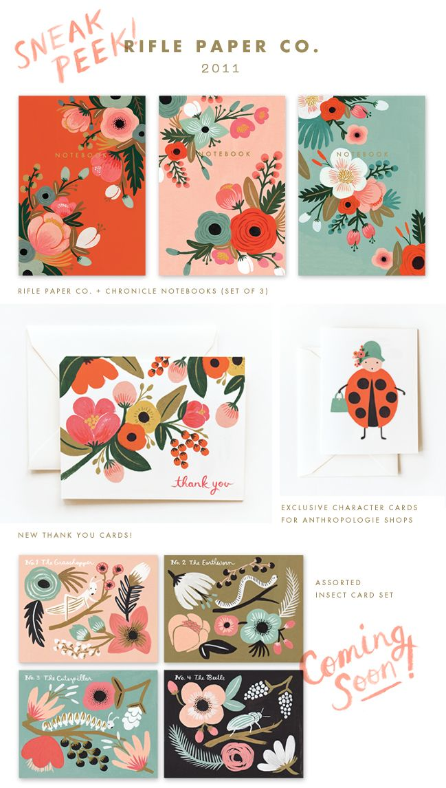 New paper goods and collaboration sneak peeks from Rifle Paper Co. Spotted on Poppytalk - http://poppytalk.blogspot.com