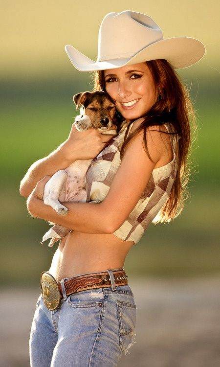 Country Girl with puppy! More sexy women models at http://sexy-calendars.net