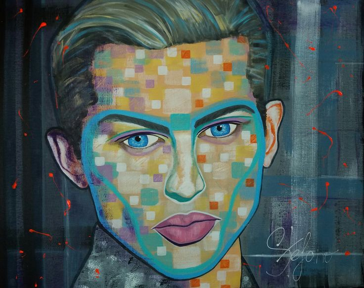 Sebastian by STEFANO acrylic on canvas(50x60cm) fashion art 2016 Sebastian Sauve,art,fineart,portait,modernportrait,paint painting,painter,artist,supermodel,acrylic