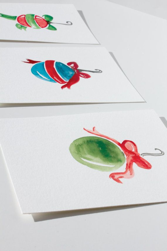 Set of 4 Christmas Ornament Watercolor Postcards by TechneArts, $10.00