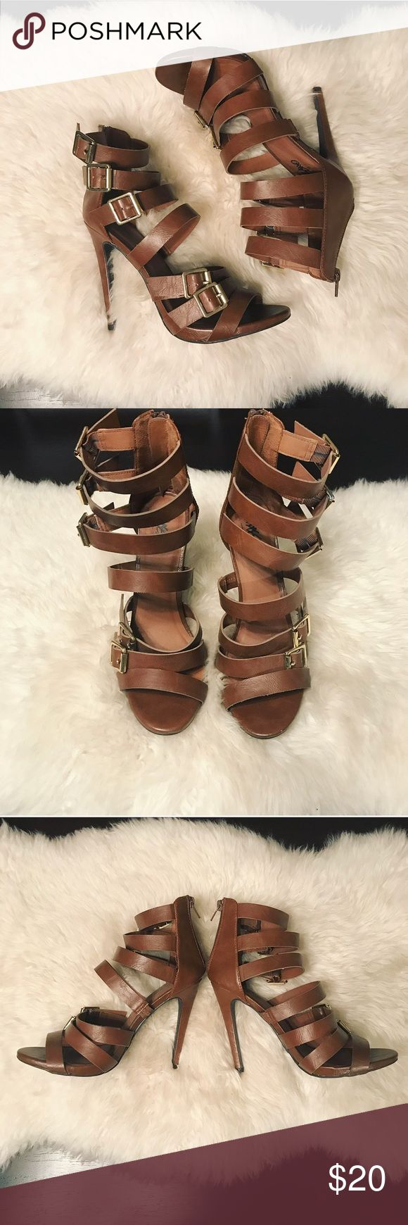 Mossimo Strappy High Heels Gorgeous light brown strappy high heel sandals with buckle detail! The buckle hardware is gold and all five buckles are functioning and adjustable! These were only worn once and they are in perfect condition! Heel height is 5 inches. Mossimo Supply Co Shoes Heels