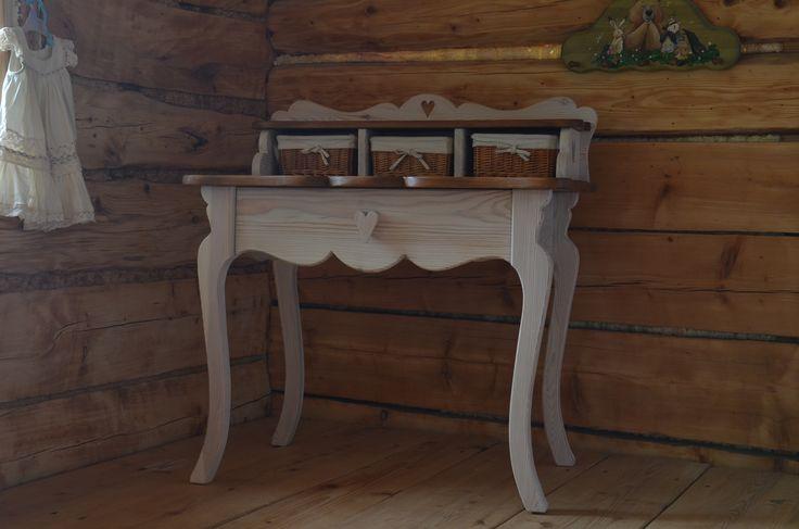 Biurko sekretarzyk z drewna , Desk cabinet with wood