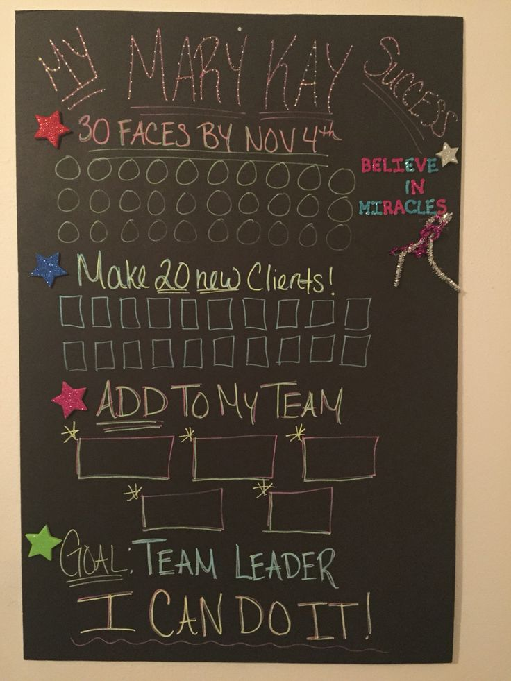 Mary Kay Success Board! If your starting out with Mary Kay, push yourself everyday to reach your goals! You can do it! Mandi Rae Johnson, Mary Kay Independent Beauty Consultant www.marykay.com/Mandirae2015 Mandirae2015@marykay.com Take your step into something beautiful and join my team!