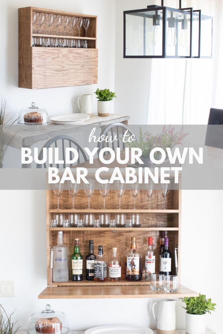 How to build this DIY Wall Mounted Bar Cabinet   Bar cabinet ...