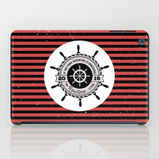 If you think adventure is dangerous try routine, it's lethal: nautical black and red striped iPhone and iPod skin