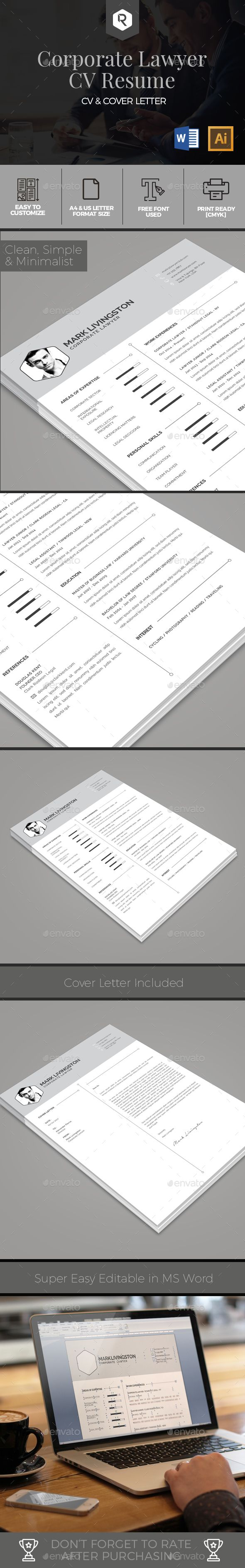 Corporate Lawyer CV Resume Template by RahardiCreative Corporate Lawyer CV Resume TemplateGood day, this is a awesome Resume/CV Template for you who working as Corporate Lawyer! This te