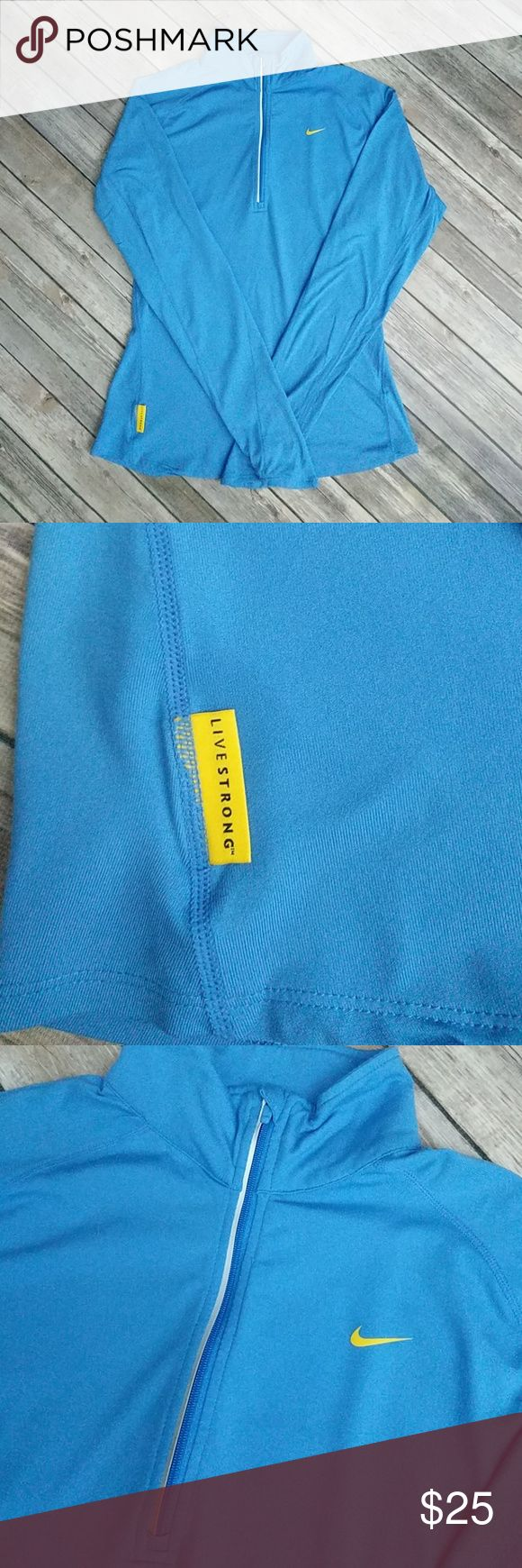 """Nike Livestrong Dri-Fit Half Zip Top Long sleeve top in excellent used condition. Blue with yellow details. Bust 19"""" laying flat. Overall length 26 1/2"""". Nike Tops Tees - Long Sleeve"""