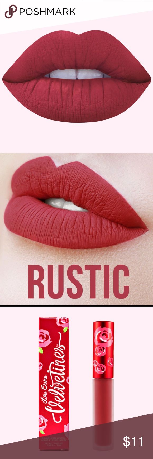 Rustic- Lime Crime Long Lasting Matted Lipstick Lime Crime Rustic Velvetine Liquid Lipstick cuz when we're with you, it feels like home~ This gorgeous rosy red shade goes on liquid smooth with the spongy doe foot applicator for flawless precision and full, opaque coverage. Plus, the signature long wearing formula dries down completely matte and touchproof for a super rich looking and comfortable finish. Lime Crime Makeup Lipstick