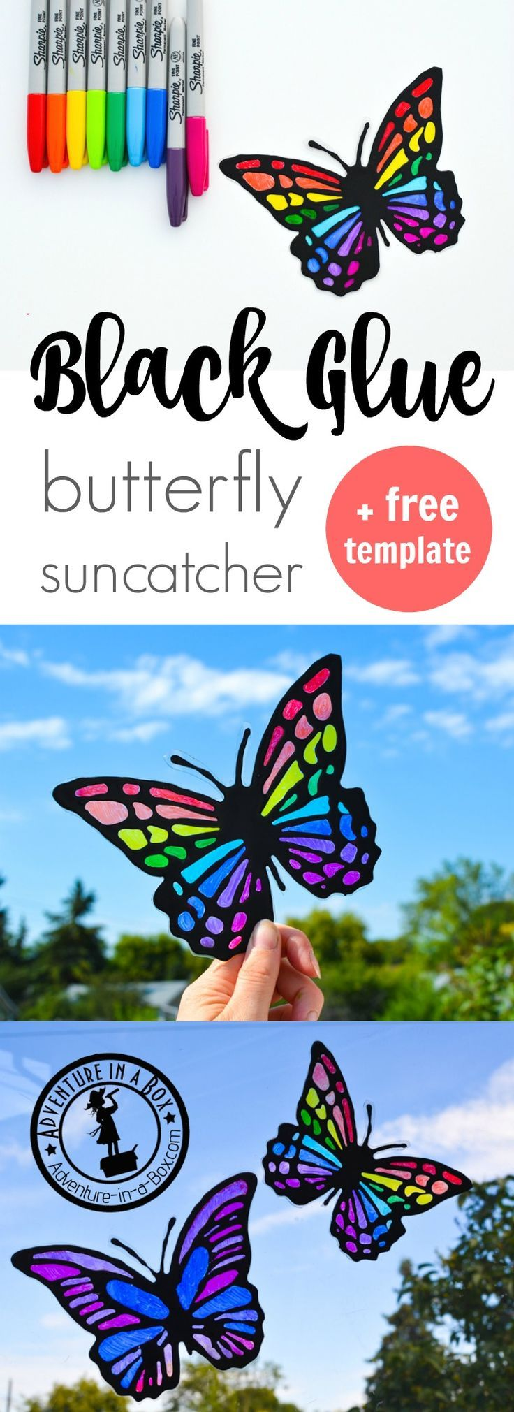 Want to make a cheery butterfly suncatcher craft with kids? It's easy if you make black glue and have on hand some sharpie markers and recyclables. Comes with a free printable template.