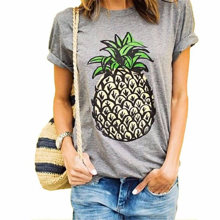 Summer Women T Shirt Novelty Brief Pineapple Pattern Print Loose T-Shirts O-neck Fashion Wild Top Tees