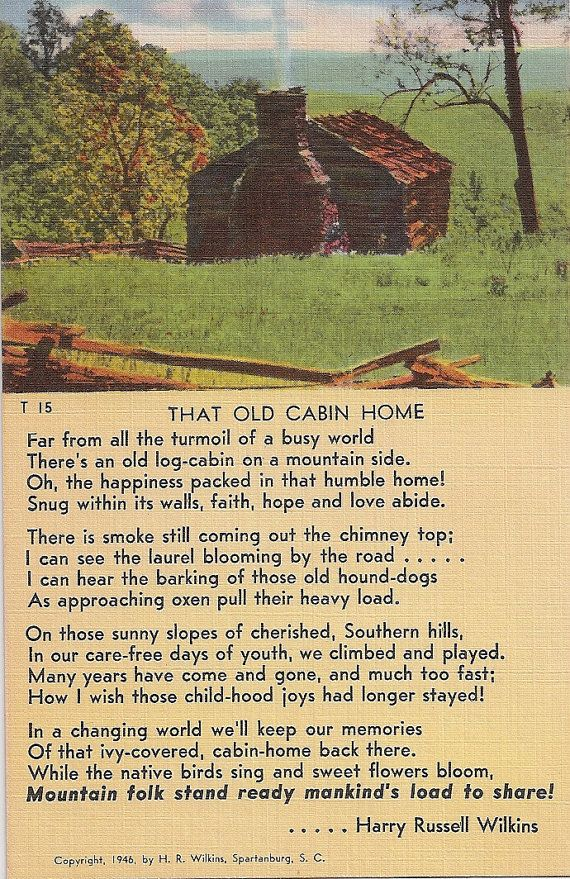 Old Cabin Home Poem Vintage Linen Postcard Quot Far From All