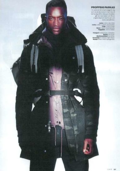 Oliver Kumbi wearing Hope in Café Magazine