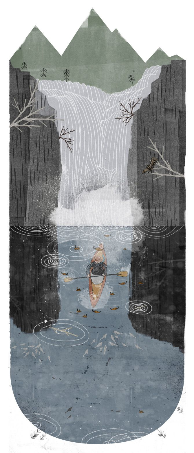 Falls - Rich Gemmell Illustration - part of a series of images based on the Scottish landscape.