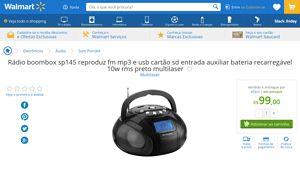 [Wal-Mart] Rádio boombox sp145 reproduz fm mp3 e usb cartão sd entrada auxiliar bateria recarregável 10w rms preto multilaser 3047623 por…