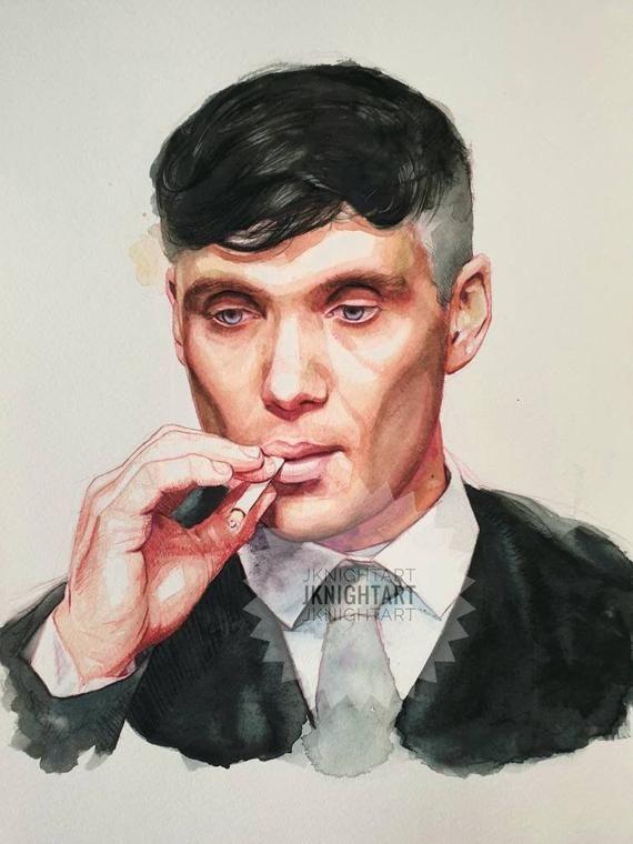 Tommy Shelby Original Watercolour Painting Hudozhestvennye Zarisovki Risunki Narisovannyj