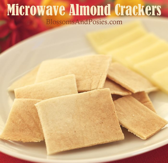 Microwave Almond Crackers: super easy, only three ingredients, and made in the microwave! So gonna try this!