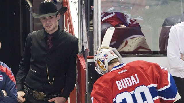 Carey Price wearing a full cowboy outfit.. Cute!: Be- Cowboys, Chapeau Cows, Cow Boys, Cowboys Outfits, Hockey Memes, Cows Boys, Awesome Cowboys, Montreal Canadiens, Full Cowboys