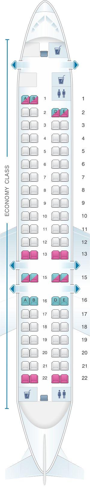 Seat Map Air Serbia Bombardier CRJ-900