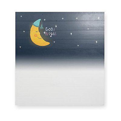 Testiera Good Night in legno di pino  blu scuro e giallo  115 x 5 x 105 cm