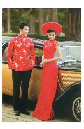 Wedding Ao Dai - Vietnamese traditional dress. Pant and headress is gold instead? Like the male shirt for groomsmen