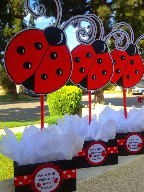 Ladybug centerpiece for birthdays baby by uniqueboutiquebygami