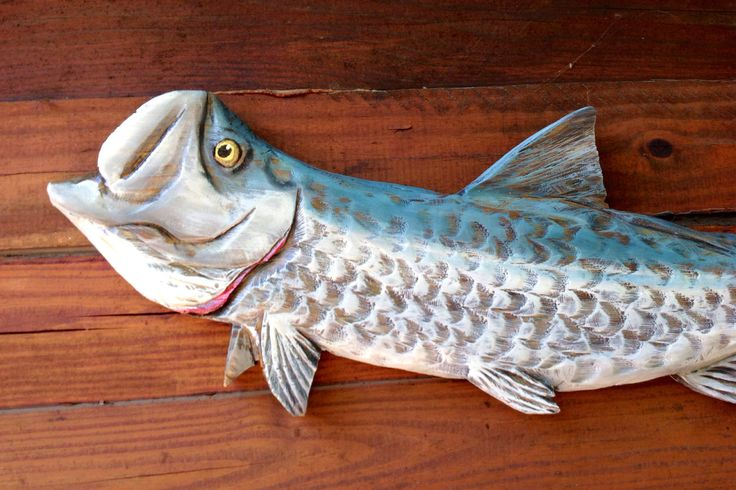 Tarpon fish wooden chainsaw carving 3 ft. Wall mount taxidermy art original Ocean Arts Seaside resort decor beach home accent sport fishing by oceanarts10 on Etsy